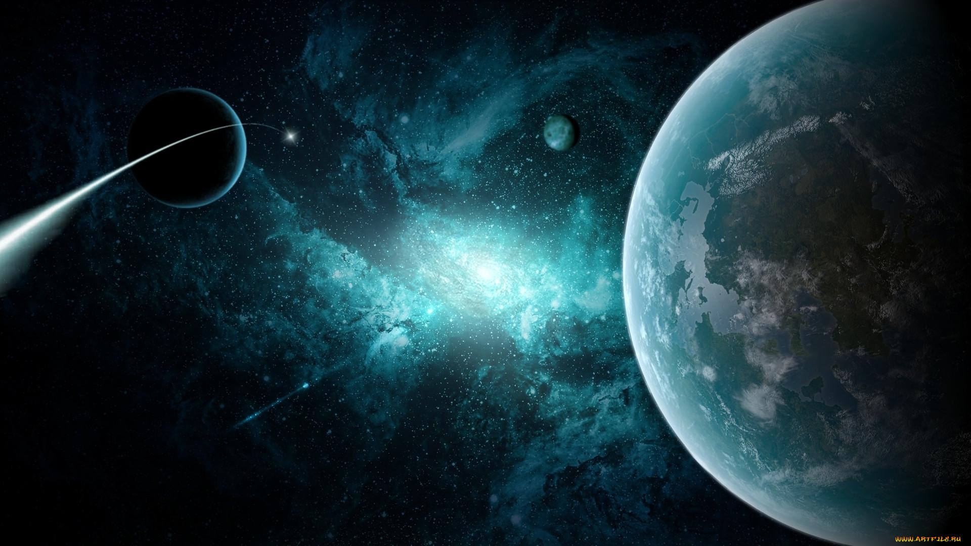 космос, арт, планеты, звезды, комета